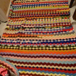 Multi-colored afghan crocheted cotton/polyester